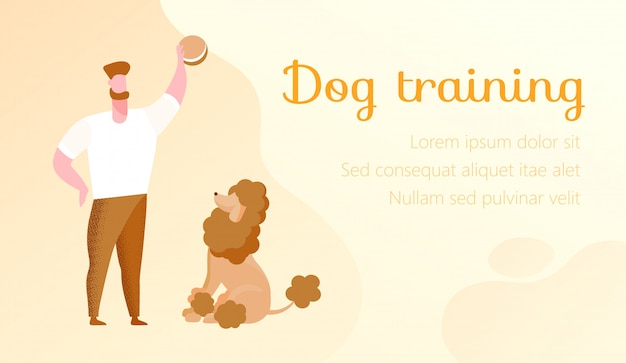 Man with cookies in hand. trainings dog. vector.
