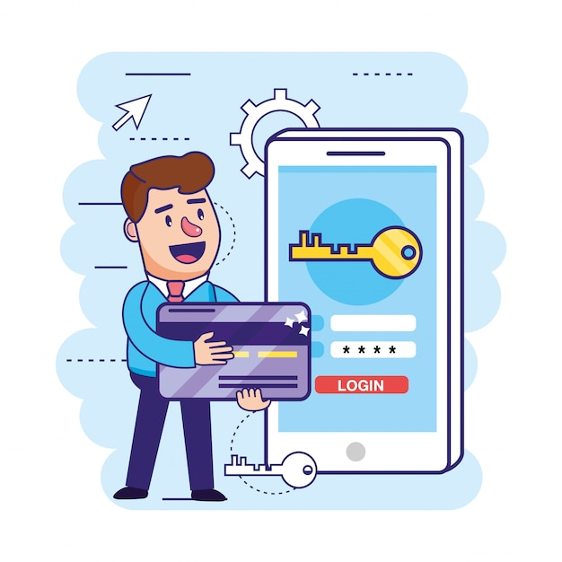 Man with credit card and smartphone with key