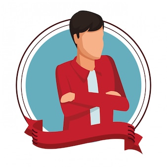 Man with crossed arms avatar round icon