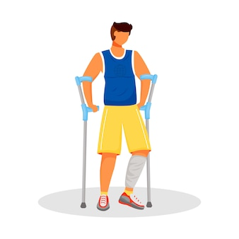 Man with crutches  character