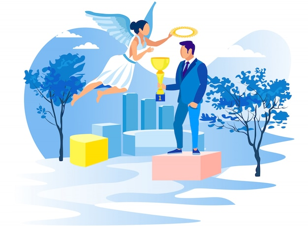 Man with cup on pedestal and girl angel. vector.