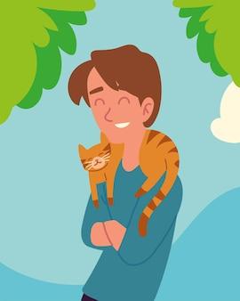 かわいい猫を持つ男