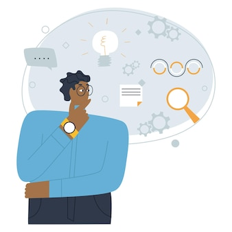 A man with dark skin stands and thinks a cloud of thoughts in search of ideas flat vector