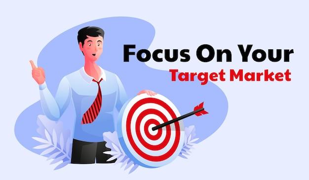Man with dart and arrow focus on target market