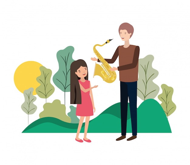 Man with daughter and saxophone character