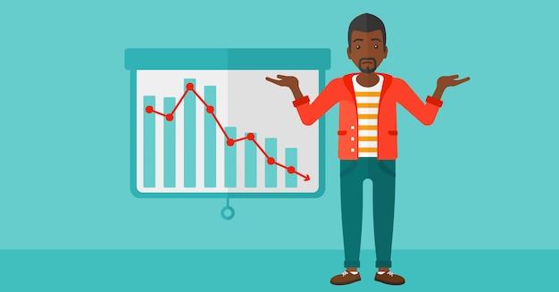 Man with decreasing chart.