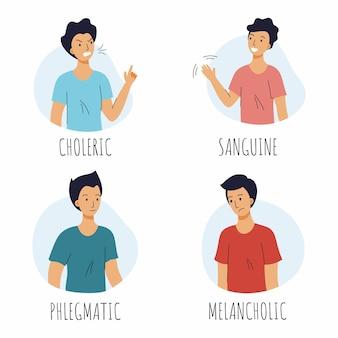 Человек с разным типом темперамента. холерик, сангвиник, меланхолик и флегматик. наборы векторных иллюстраций.