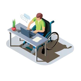 コンピューターで作業しているデスクで障害を持つ男性。仕事をしている、またはオンラインで通信している車椅子の無効な人。職場での障害者キャラクター、アイソメトリックイラスト。