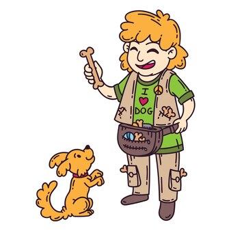 Man with dog. dog training.