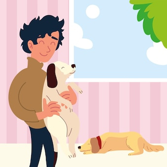 Man with dogs at home