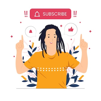 A man with dreadlocks hairstyle pointing subscribe button concept illustration