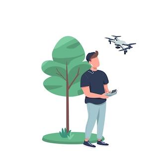 Человек с дроном плоский цвет безликий персонаж