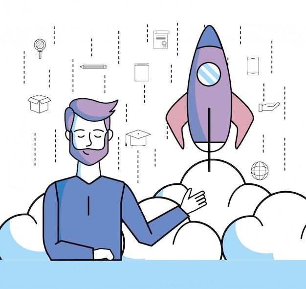 オンライン教育とロケットアプリを持つ男