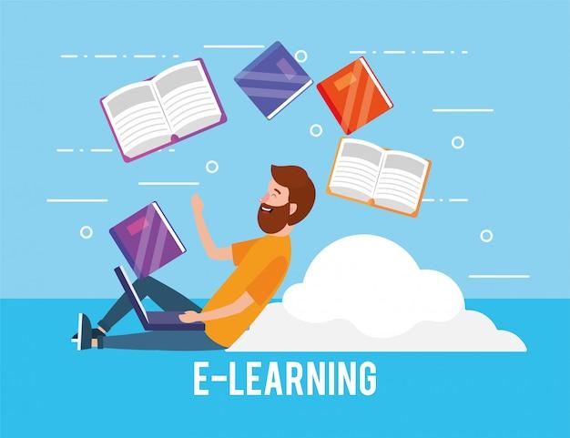 Eラーニングのラップトップ技術と本を持つ男