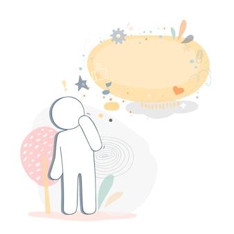 Человек с пустым пузырем речи. векторные иллюстрации шаржа в плоском стиле.