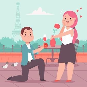 Мужчина с обручальным кольцом делает девушке предложение в романтическом месте.