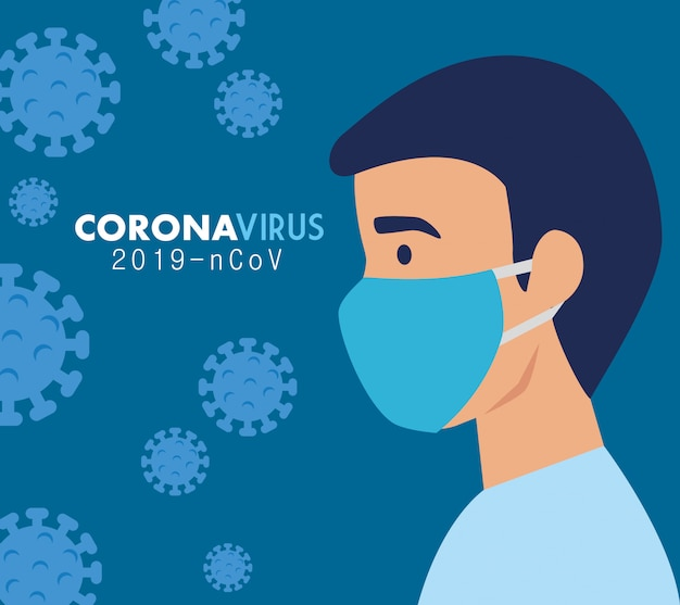 Man with face mask for coronavirus 2019 ncov