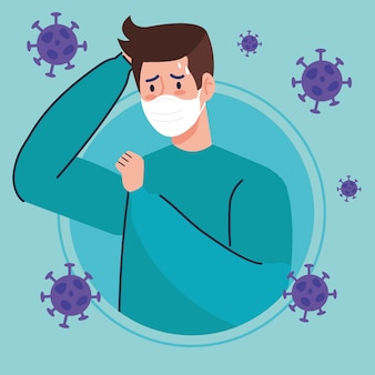 Man with face mask sick of coronavirus 2019 ncov