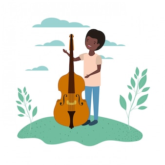 Man with fiddle in landscape avatar character