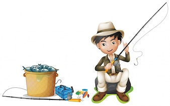Man with fishing pole and bucket of fish