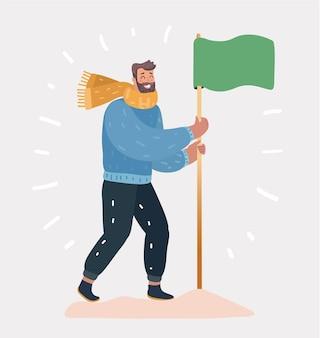 白い背景の上の旗を持つ男