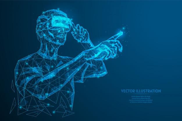 Человек в очках, шлем дополнительной виртуальной реальности. онлайн исследования, анализ данных, диагностика, наука, виртуальные игры. инновационные игровые развлекательные технологии. низкополигональная иллюстрация.
