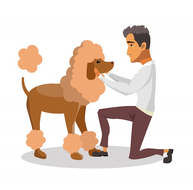 Man with groomed poodle cartoon design element.