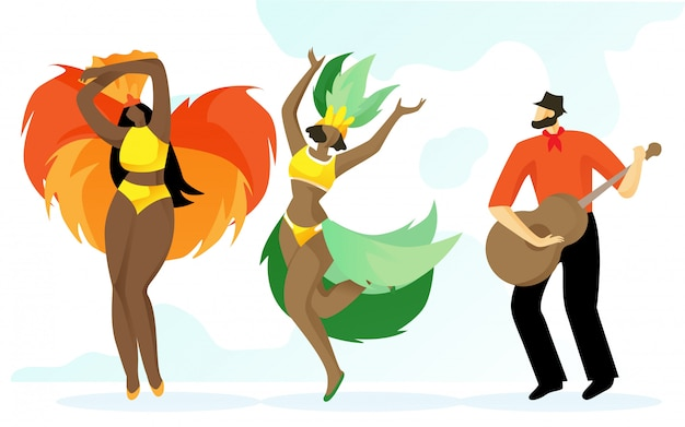 Man with guitar in hands and women in hats. vector