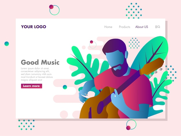 Man with guitar illustration for landing page