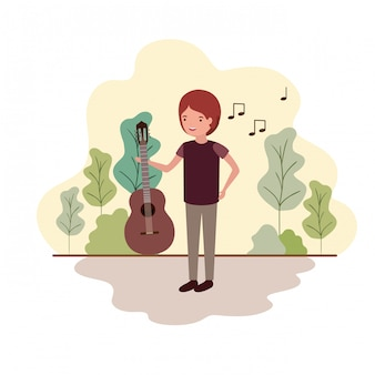 Man with guitar in landscape avatar character