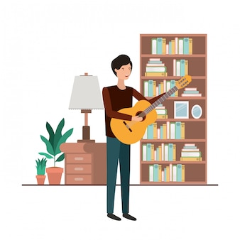 Man with guitar in living room avatar character