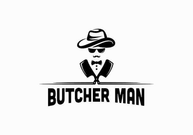 Man with hat, bow tie, knife. butchery logo design template inspiration