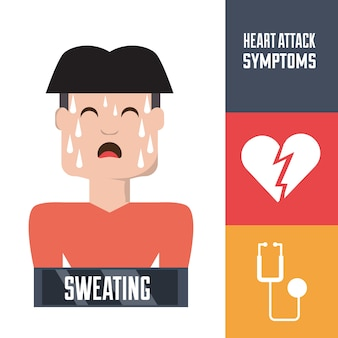 Man with heart attack symptoms and condition