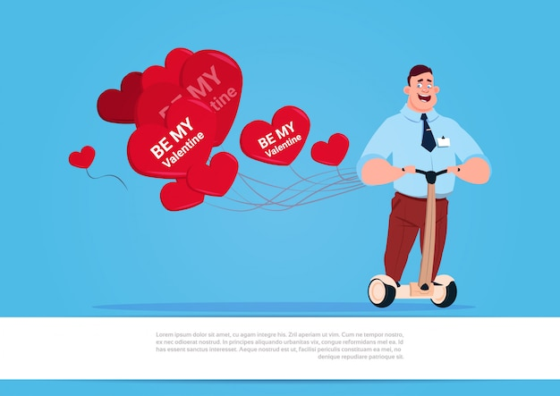 Man with heart shaped air balloons riding electric scooter happy valentine day concept