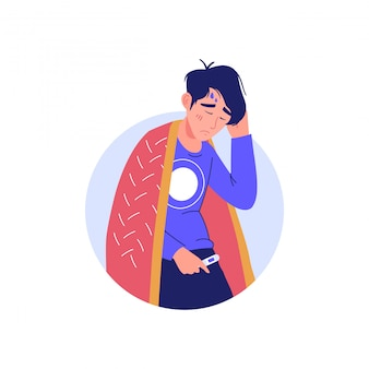 Man with a high temperature, fever. epidemic disease character concept. sick man with coronavirus disease symptom - fever. man with a cold sign, respiratory viral infection icon.