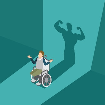 Man with his disability have a powerful man shadow