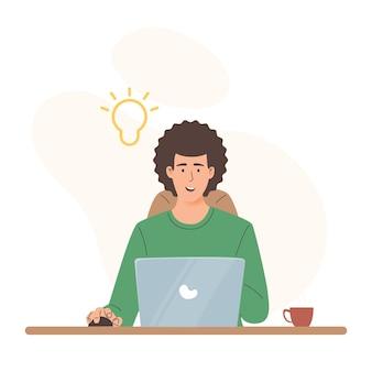 Человек с идеей работает с ноутбуком