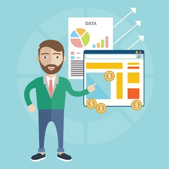 Man with infographies design