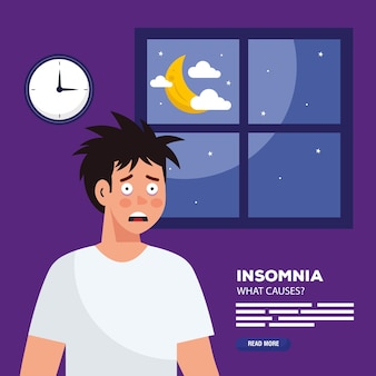 Man with insomnia in front of window design, sleep and night theme.