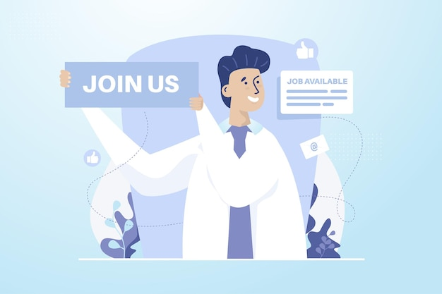 A man with join us sign for open recruitment illustration concept