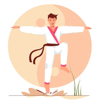 Man with karate flat position flat illustration