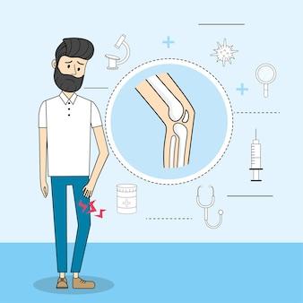 Man with knee pain illness consultation diagnosis