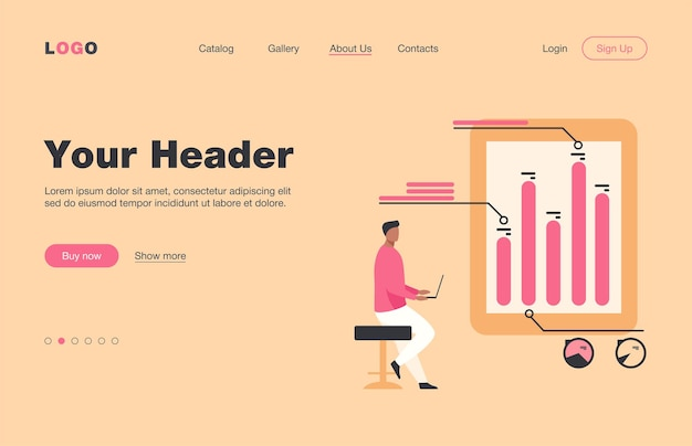 Man with laptop analyzing infographics. diagram, bar chart, report flat  landing page. analysis, marketing, project manager concept for banner, website design or landing web page