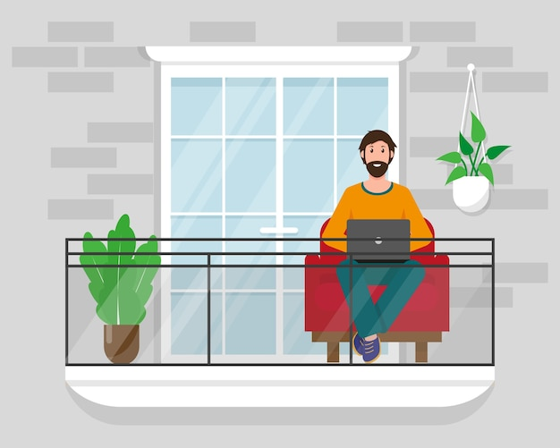 Man with laptop on the balcony with chair and plants.  stay at home, work online or freelance concept  illustration.