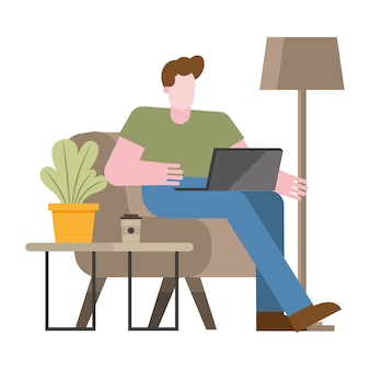 Man with laptop on chair working from home design of telecommuting theme vector illustration