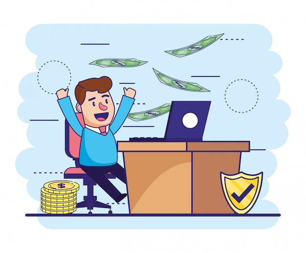 Man with laptop in the desk and bills with coins