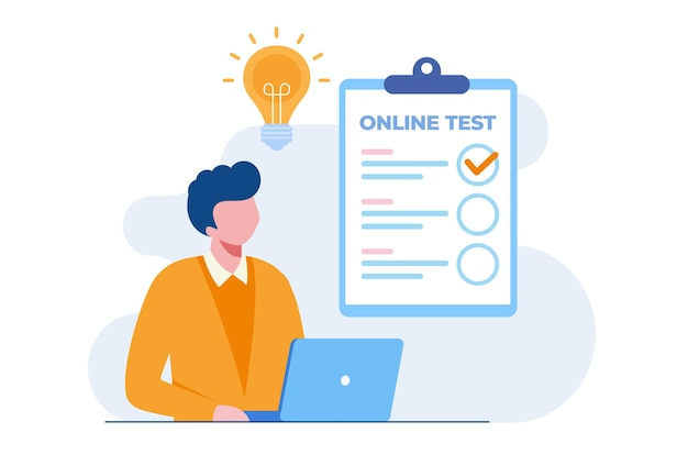 Man with a laptop passing online test and checking answers. flat vector illustration