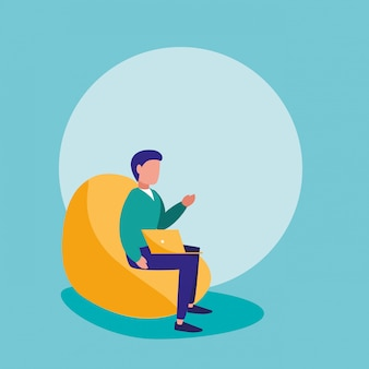 Man with laptop sitting in sofa character