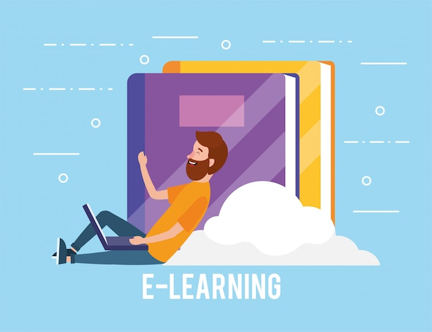 ラップトップ技術と本の教育を持つ男
