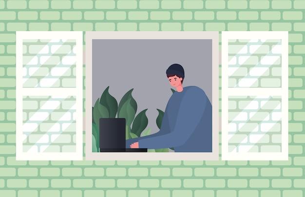 Человек с ноутбуком, работающим над оконным дизайном работы из домашней темы